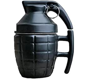 Grenade Drinkware Mugs Ceramic Water Coffee Tea Mug Cup with Cover Lid Black Boom Cups Office Gifts