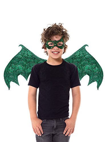 Little Adventures Reversible Dragon Mask and Wing Sets for Boys & Girls - Green (For Children Wings)