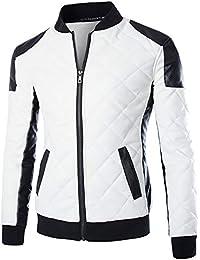 Cloud Style Men's Latticed Baseball Bomber Jacket Slim Fit Coat White Black