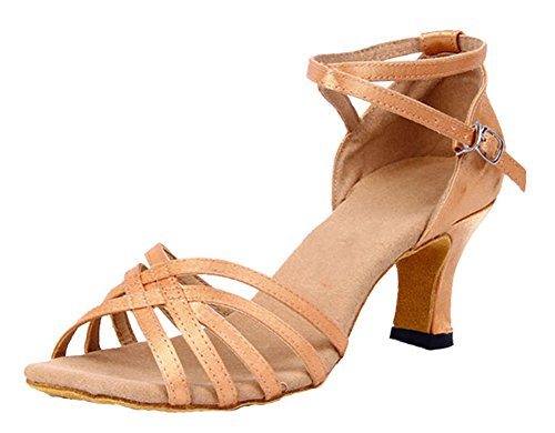 Honeystore Womens Solid Color Straps Satin Dance Shoes Nude 7 B(M) US