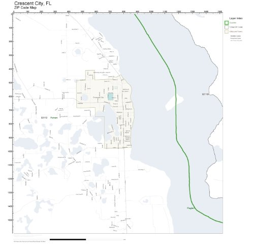 Amazon Com Zip Code Wall Map Of Crescent City Fl Zip Code Map Not
