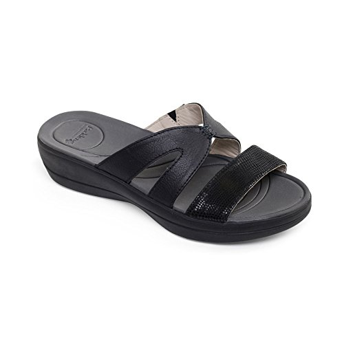 Wide 'Charlie' Horn Leather Women's Fit Footcare Shoe Free Black UK Sandal Extra EE Padders Combi RqtX177