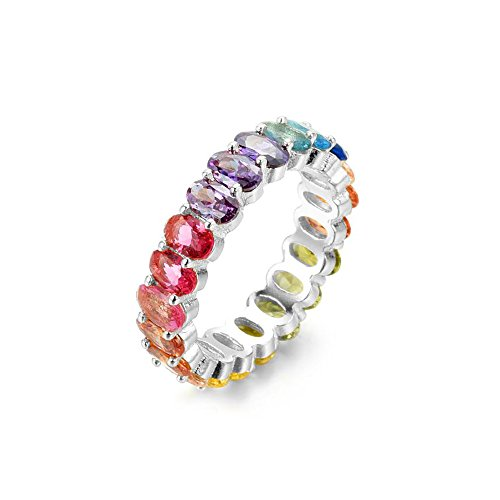 NYC Sterling Women's .925 Silver Oval Shaped Rainbow Cubic Zirconia Eternity Ring (Rhodium-Plated-Silver, 7)
