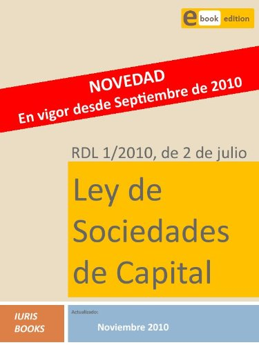 Descargar Libro Rdl 1/2010, Ley De Sociedades De Capital Iuris Books