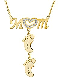 Personalized Mom Heart Symbol Necklace with Child Name Feet Charms