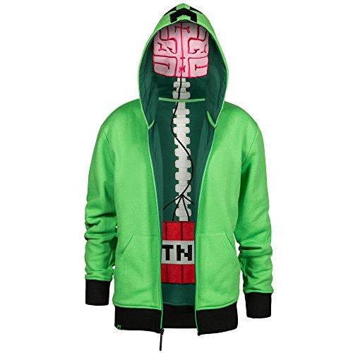 Minecraft Big Boys' Creeper Anatomy Premium Zip-Up Hoodie (Green, Small)