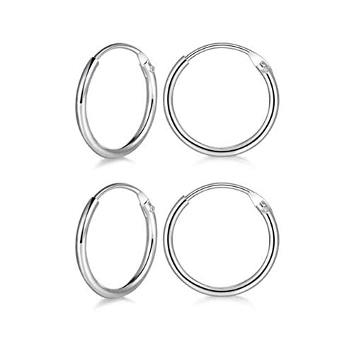 Small Hoop Earring 14K White Gold Plated S925 Sterling Silver Endless Tiny Hoop Earring for Women Cartilage Nose Lip Rings(2 Pairs 8mm)
