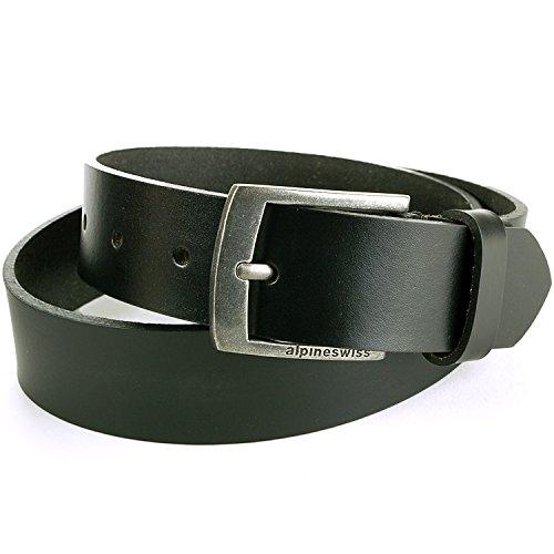 "Alpine Swiss Men's Leather Belt Slim 1 1/8"" Casual Jean Dakota Signature Buckle Black 40 - Black Leather Swiss"