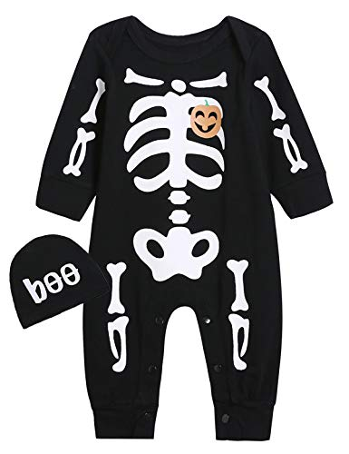 Singcoco Halloween Baby Boys Girls Skull Costume Romper with Hat (Black, 0-3 Months) -