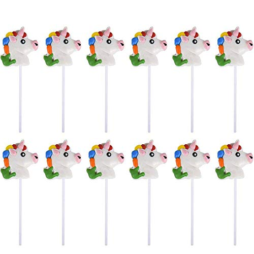 "2"" Head Unicorn Lollipops - Pack of 12 Magical Candy Suckers for Party Favors, Cake Decorations, Novelty Supplies or Treats for Halloween, Christmas, Baby Showers by Kidsco"
