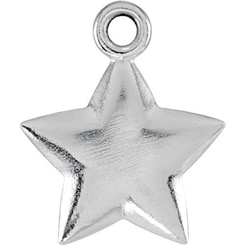 Jewels By Lux 925 Sterling Silver 11.5x9.75mm Puffed Star Charm with Jump Ring (Puffed Star Silver Sterling)