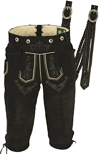 Trachtenlederhose Herren- Damen Kniebundlederhose -Trachten Lederhose mit Träger in Schwarz- Trachtenhose Knielang aus echt Leder Velours (50, Schwarz)