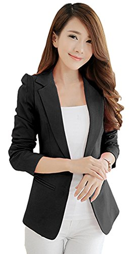 HaoMing Fashion Casual Work Blazer Office Jacket Lightweight for Women and Juniors #3 Black (Boucle Lined Suit)