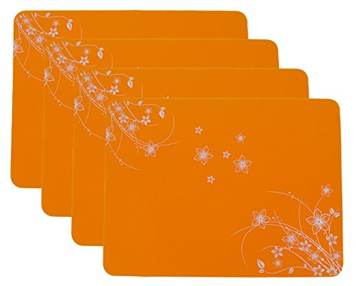 15.7''x11.8'' New Silicone Decorative pattern Placemats, Flexible Non-Slip Silicone, Set of 4 (Orange) by RYPMIC