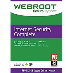 Webroot Internet Security Complete with Antivirus Protection | 5 Device | 1 Year Subscription | PC/Mac Disc