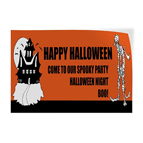Decal Sticker Multiple Sizes Happy Halloween Come to Party Custom Holidays and Occasions Happy Halloween Outdoor Store Sign Orange - 69inx46in,