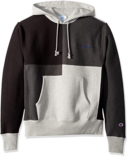 Champion LIFE Men's Reverse Weave Color Block Hood, Oxford Grey/Granite Heather/Black, Small