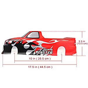 Coolplay 1/10 PVC Car Body Shell RC Racing Car Accessories for Pick Up Truck Venom T-10 - Red