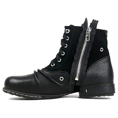 (OTTO ZONE Moto Boots for Men Fashion Zipper-up Leather Chukka Boots with Fur Casual Shoes 5008-8-black-US8)