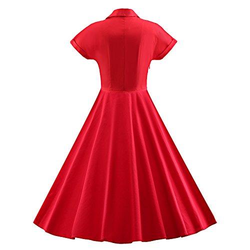Ilover Womens Soirée Swing Classique Manches Courtes De 1940 Millésime Rockabilly Robe V027-rouge