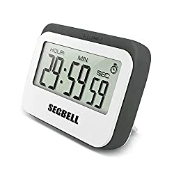 Secbell Multifunction Large LCD Display 12 / 24 Hours Digital Timer. 3 mode - Clock,Countup,Countdown. Accurate to seconds. For Cooking,Study,Games (Grey)