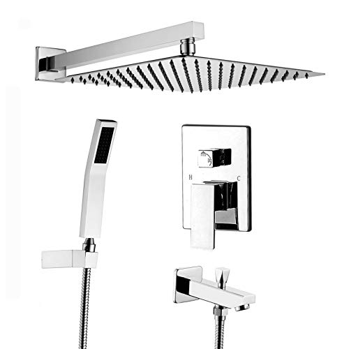 Thermostatic Bath Shower Mixer - Acefy ATF18004 Rain Shower Set and Tub Spout with 12 Inch with Rainfall Shower and Handheld Combo Set,Contain Rough In Valve Body and Shower Trim Kit, All Metal Strong Flow Concealed Shower System