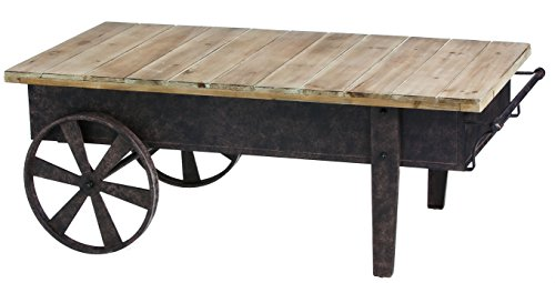 (Cape Craftsmen Vintage Wood Plank Metal Cart Coffee Table)