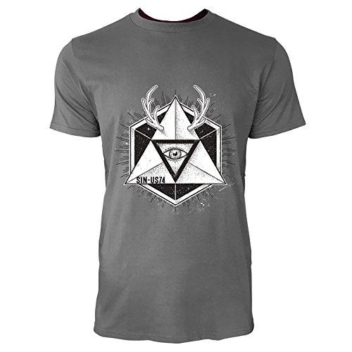 SINUS ART® Abstraktes Geometrisches Hipster Motiv Herren T-Shirts in Grau Charocoal Fun Shirt mit tollen Aufdruck