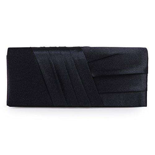 Damara Elegance Satin Cocktail Wedding Handbag Evening Clutch Bag,Navy Blue ()