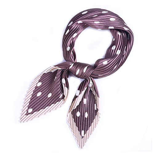 - AOLIGE Hair Scarf Satin Head Neck Scarfs for Women (pleated dot brown)