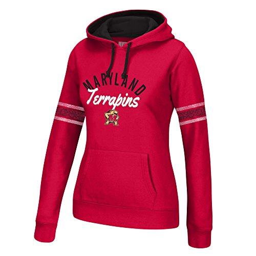 Maryland Terps Ncaa Hoody - J America NCAA Maryland Terrapins Women's Essential Arm Stripe Hoodie, Large, Red/Black