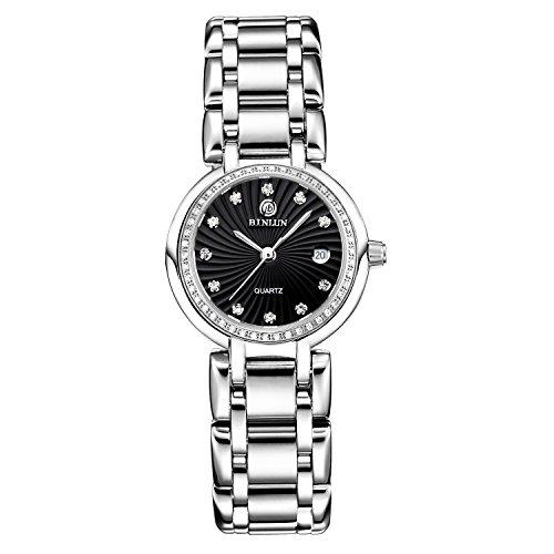 BINLUN Mujeres Relojes de Cuarzo Impermeables Diamantes de Plata Relojes de Señora con Fecha: Amazon.es: Relojes