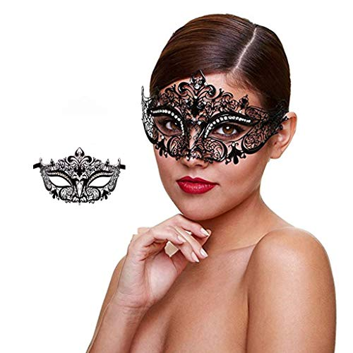 WJood Metal Masquerade Mask for Women Shiny Rhinestone Venetian Party Prom Ball Women Sexy Eye Mask for Halloween CarnivalParty Costume Ball,Princess ()