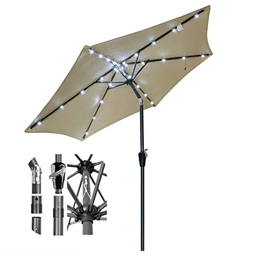 8ft Outdoor Patio Solar Power LED Aluminium Umbrella Sunshade UV Blocking Tilt Hand-Crank - Beige - Mall County South Stores