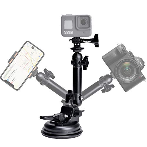 fantaseal Action Camera Smartphone Suction Cup Race Car Cockpit Mount Motion Camcorder Vehicle Windshied Hood Rooftop Holder for GoPro Sony iPhone Hi-Speed Filming