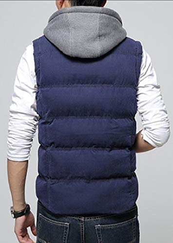security Men Hoodie Quilted Vest Jacket Warm Zip Up Puffer Outerwear Down with Pockets 1