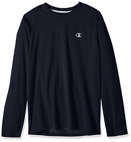 Champion Men's Double Dry Select Long Sleeve T-Shirt, Navy, Large ()
