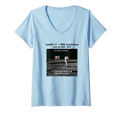 Womens Apollo 11 50th Anniversary Commemorative 1st Lunar Landing V-Neck T-Shirt
