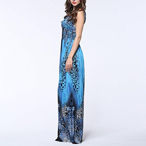 per scollo Blu stampa in donne Taglia Vestito 6XL le con lungo LUOEM V qnw8XFqp