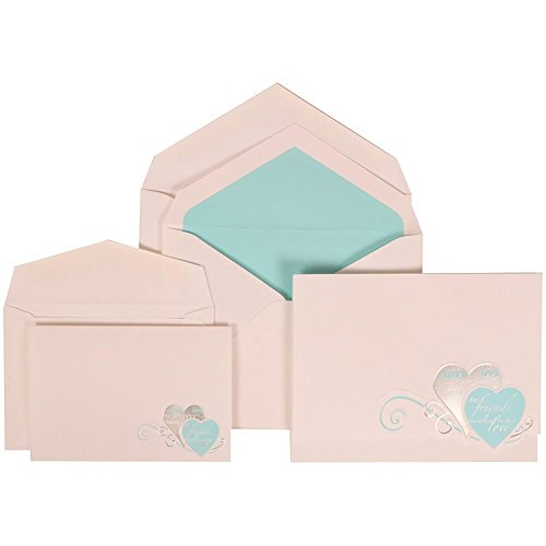 JAM Paper Wedding Invitation Combo Set - 1 Large & 1 Small - White Card with Tropical Blue Lined Envelope with Best Friends Forever - 150/pack by JAM Paper