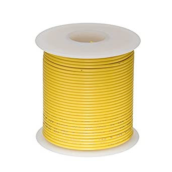 600 Volts PTFE 0.0403 Diameter Yellow Remington Industries 18PTFESTRYEL25 18 AWG Gauge Stranded Hook Up Wire 25 feet Length