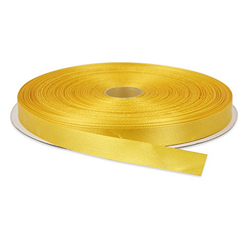 Topenca Supplies 3/8 Inches x 50 Yards Double Face Solid Satin Ribbon Roll, Dark Yellow -