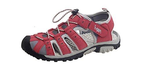 PDQ - Sandalias de vestir para mujer multicolor multicolor rojo y gris