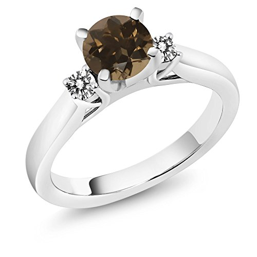 Green Quartz Enhancer (1.00 Ct Round Brown Smoky Quartz White Diamond 925 Sterling Silver 3-Stone Ring)