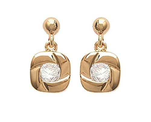 Boucles d'Oreilles Pendantes en Plaqué Or et Oxyde de Zirconium - Forme Carrée avec Strass, Brillants Blanc - Bijoux Femme