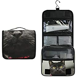 DoubleCW Black Cat Hanging Toiletry Bag Portable Travel Organizer Makeup Cosmetic for Women Men