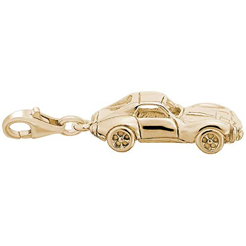 Rembrandt Classic American Sports Car Charm with Lobster Clasp, Gold Plated Silver
