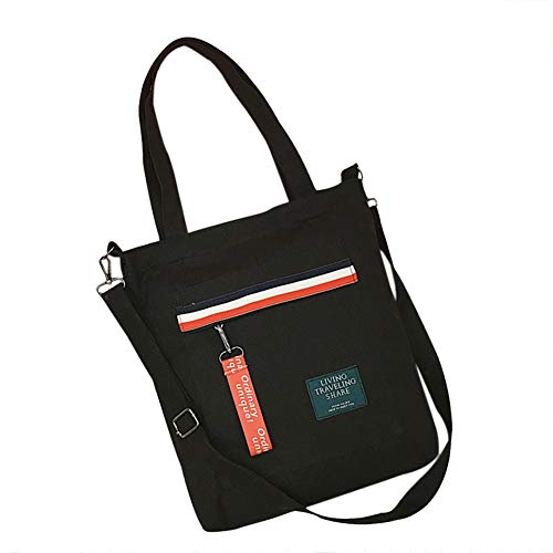 Belsmi Cotton Zipper Shoulder Bag Shopping Canvas Totes Bag (1 Black)