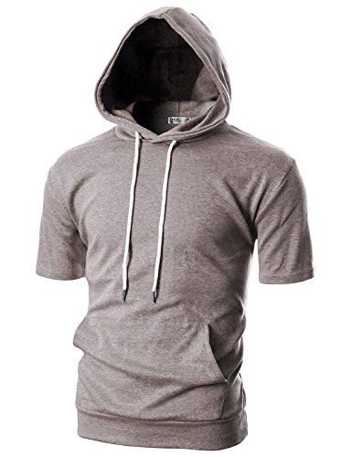 Ohoo Mens Slim Fit Short Sleeve Lightweight Hoodie with Kanga Pocket/DCF013-brown-XL - Jade Ribbed Sweater