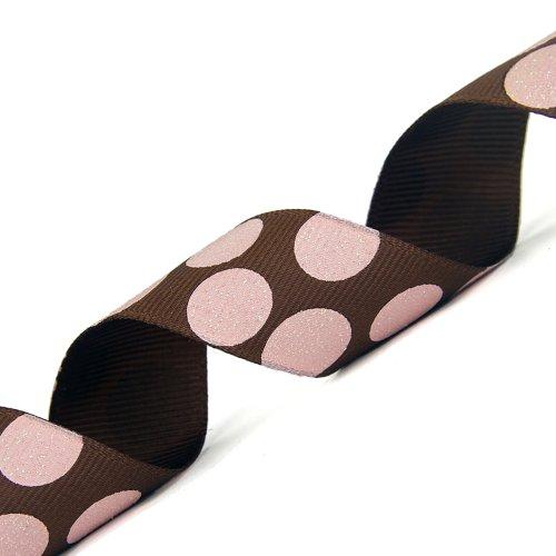 Morex Ribbon Sugar Dots Glitter Grosgrain Ribbon, 7/8-Inch by 20-Yard, Brown/Pink